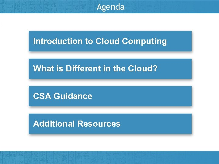 Agenda Introduction to Cloud Computing What is Different in the Cloud? CSA Guidance Additional