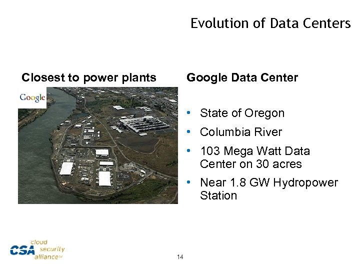 Evolution of Data Centers Closest to power plants Google Data Center • State of