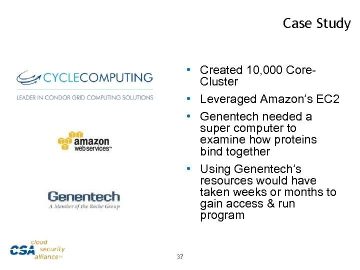 Case Study • Created 10, 000 Core. Cluster • Leveraged Amazon's EC 2 •