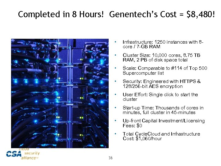 Completed in 8 Hours! Genentech's Cost = $8, 480! • • Cluster Size: 10,