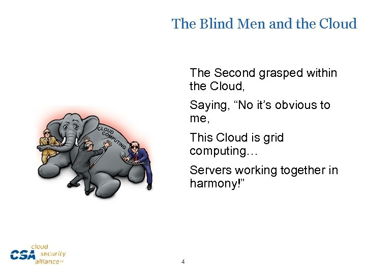 """The Blind Men and the Cloud The Second grasped within the Cloud, Saying, """"No"""