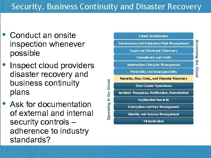 Security, Business Continuity and Disaster Recovery • Insert presenter logo here on slide master
