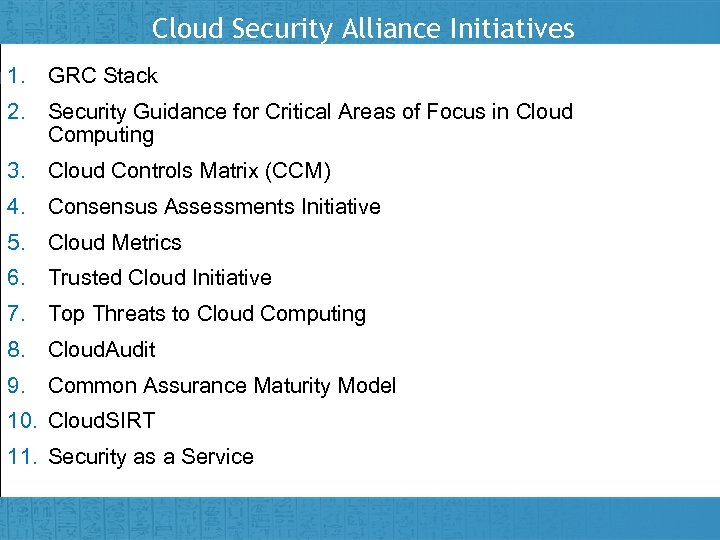 Cloud Security Alliance Initiatives 1. GRC Stack 2. Security Guidance for Critical Areas of