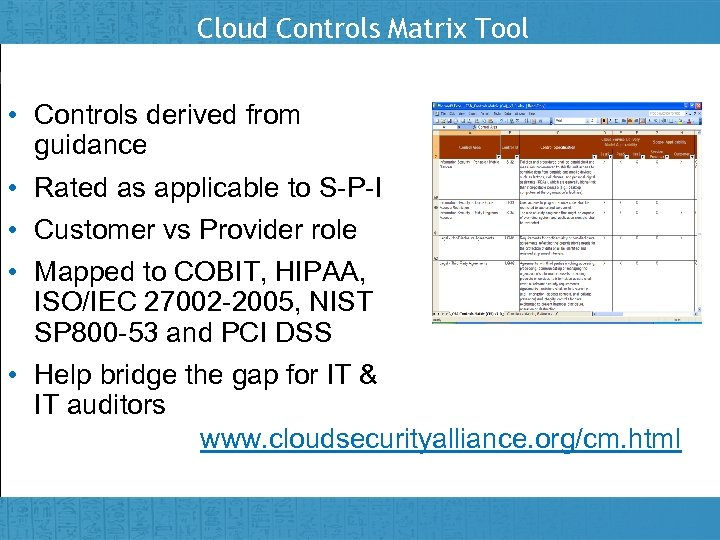 Cloud Controls Matrix Tool • Controls derived from guidance • Rated as applicable to