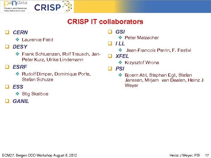 CRISP IT collaborators q CERN v Laurence Field q DESY v Frank Schluenzen, Rolf
