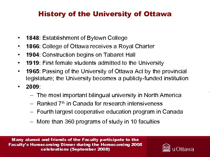 History of the University of Ottawa • • • 1848: Establishment of Bytown College