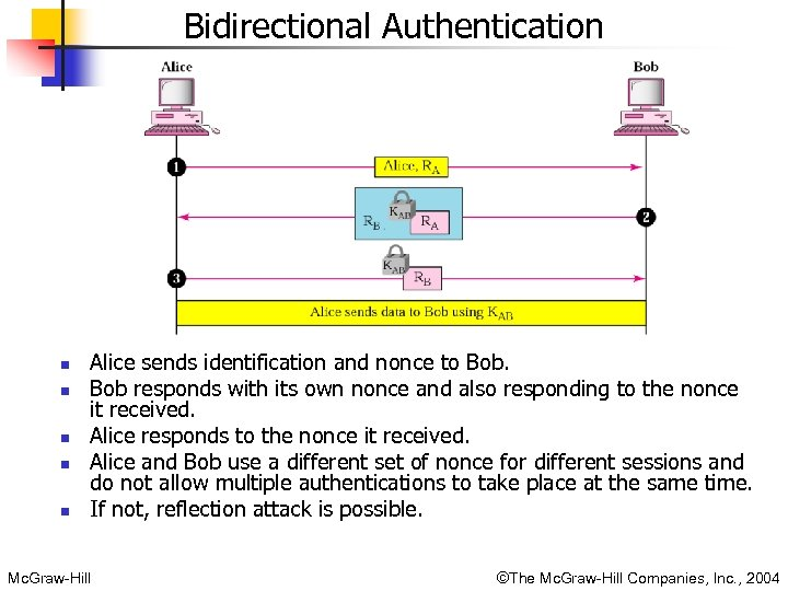 Bidirectional Authentication n n Alice sends identification and nonce to Bob responds with its