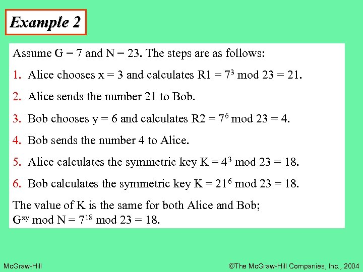 Example 2 Assume G = 7 and N = 23. The steps are as