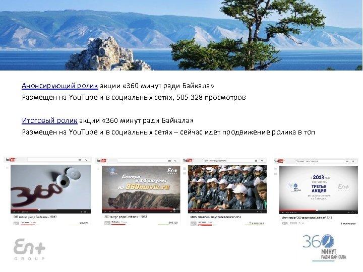 Анонсирующий ролик акции « 360 минут ради Байкала» Размещен на You. Tube и в