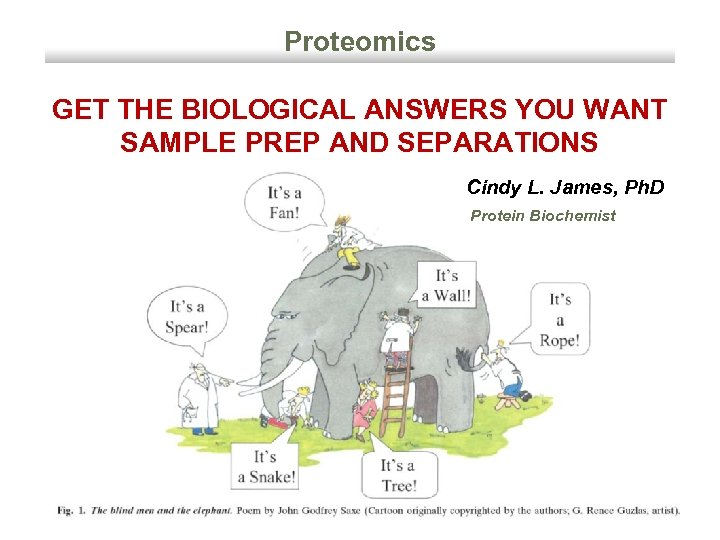 Proteomics GET THE BIOLOGICAL ANSWERS YOU WANT SAMPLE PREP AND SEPARATIONS Cindy L. James,