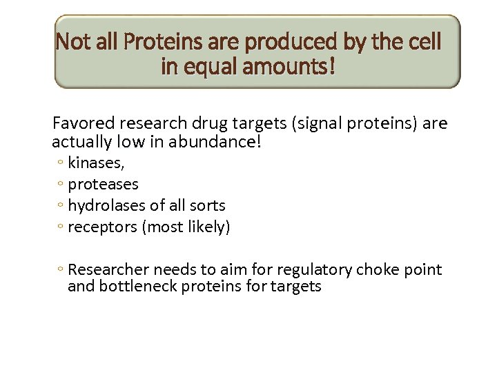 Not all Proteins are produced by the cell in equal amounts! Favored research drug