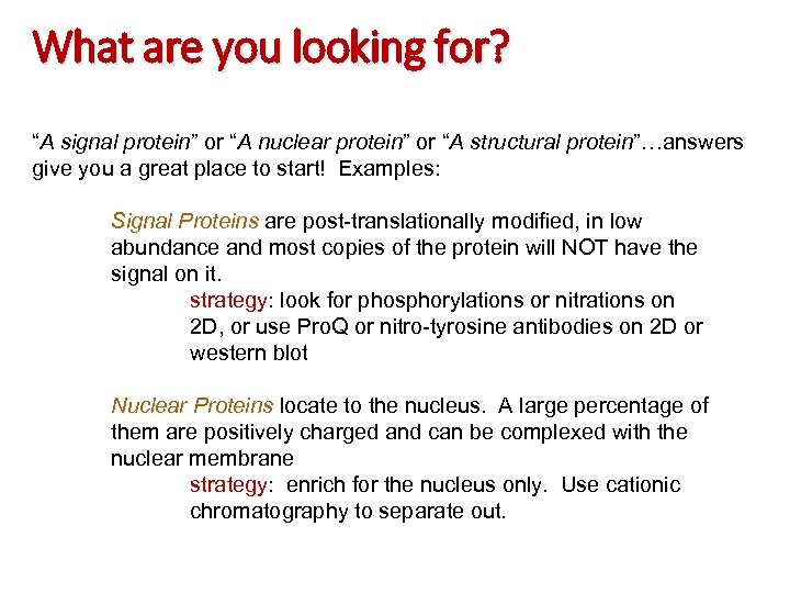 """What are you looking for? """"A signal protein"""" or """"A nuclear protein"""" or """"A"""