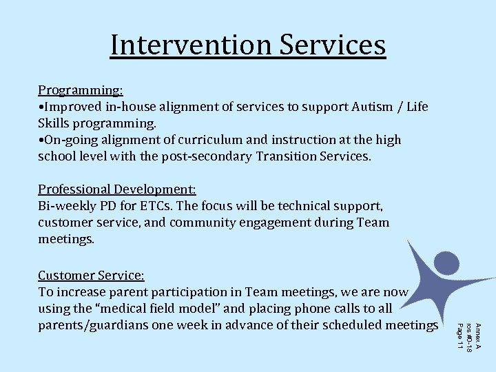Intervention Services Programming: • Improved in-house alignment of services to support Autism / Life