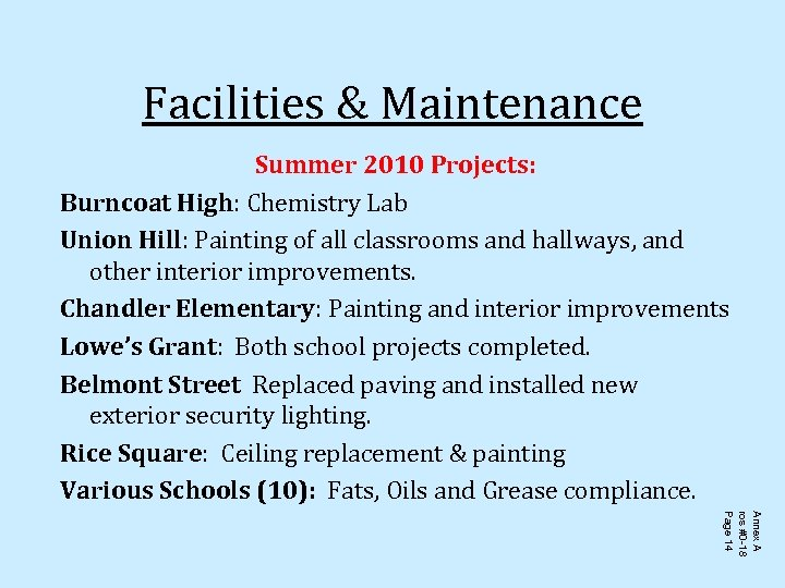 Facilities & Maintenance Summer 2010 Projects: Burncoat High: Chemistry Lab Union Hill: Painting of