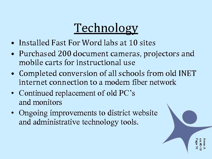 Technology • Installed Fast For Word labs at 10 sites • Purchased 200 document