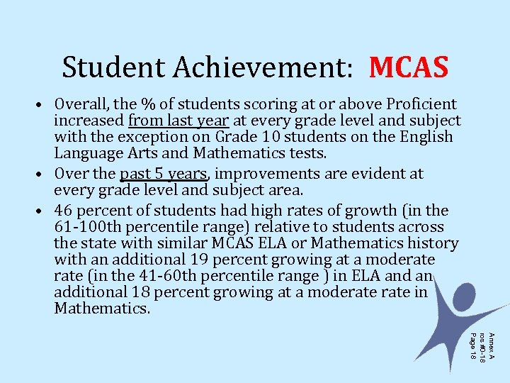 Student Achievement: MCAS • Overall, the % of students scoring at or above Proficient