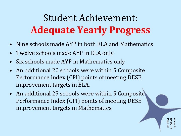 Student Achievement: Adequate Yearly Progress • • Nine schools made AYP in both ELA