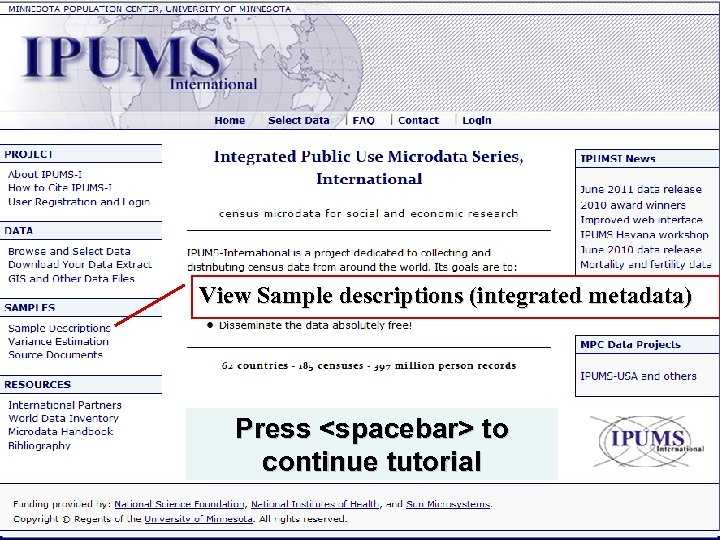 View Sample descriptions (integrated metadata) Press <spacebar> to continue tutorial