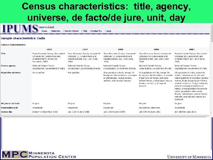Census characteristics: title, agency, universe, de facto/de jure, unit, day