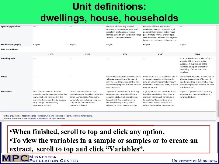 Unit definitions: dwellings, households • When finished, scroll to top and click any option.