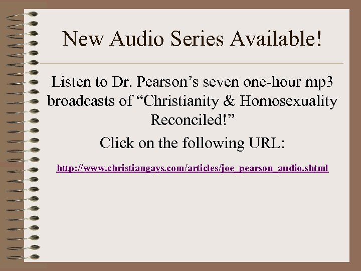 New Audio Series Available! Listen to Dr. Pearson's seven one-hour mp 3 broadcasts of