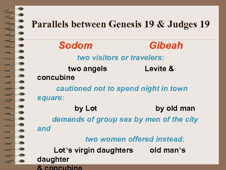 Parallels between Genesis 19 & Judges 19 Sodom Gibeah two visitors or travelers: two