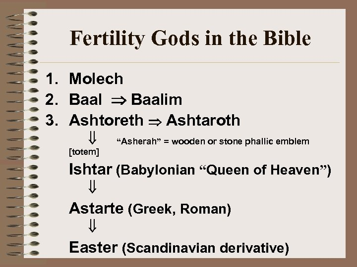 "Fertility Gods in the Bible 1. Molech 2. Baalim 3. Ashtoreth Ashtaroth ""Asherah"" ="