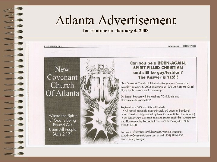 Atlanta Advertisement for seminar on January 4, 2003