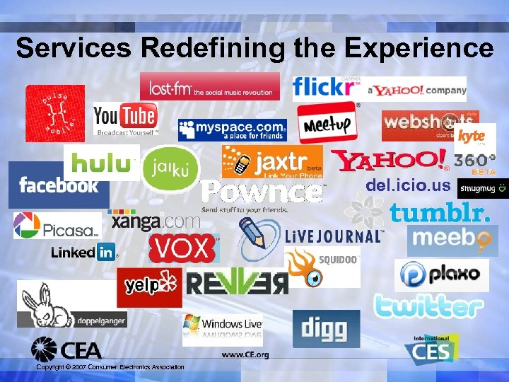 Services Redefining the Experience del. icio. us Copyright © 2007 Consumer Electronics Association