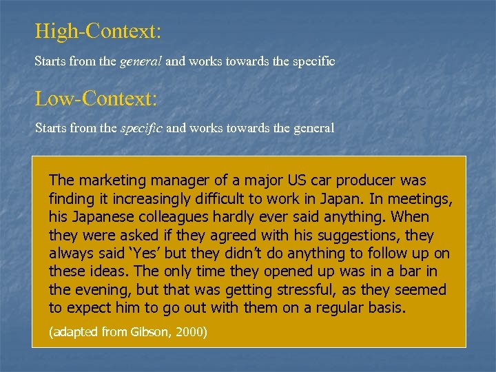 High-Context: Starts from the general and works towards the specific Low-Context: Starts from the