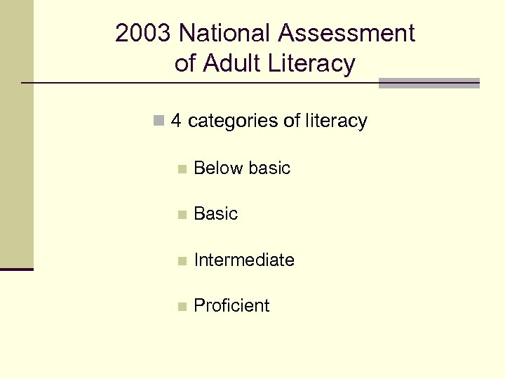 2003 National Assessment of Adult Literacy n 4 categories of literacy n Below basic