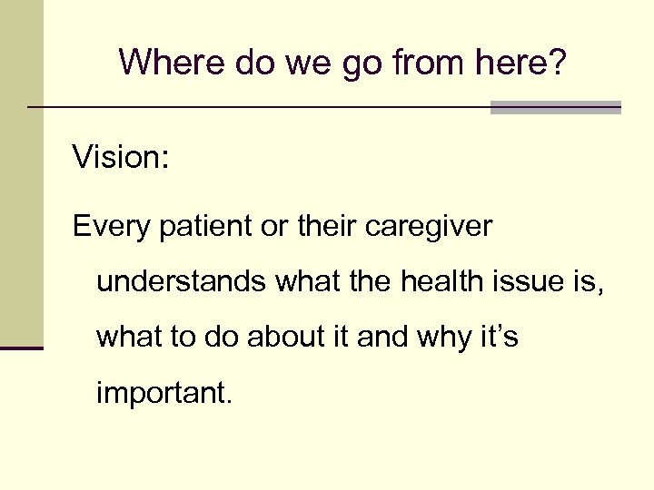 Where do we go from here? Vision: Every patient or their caregiver understands what