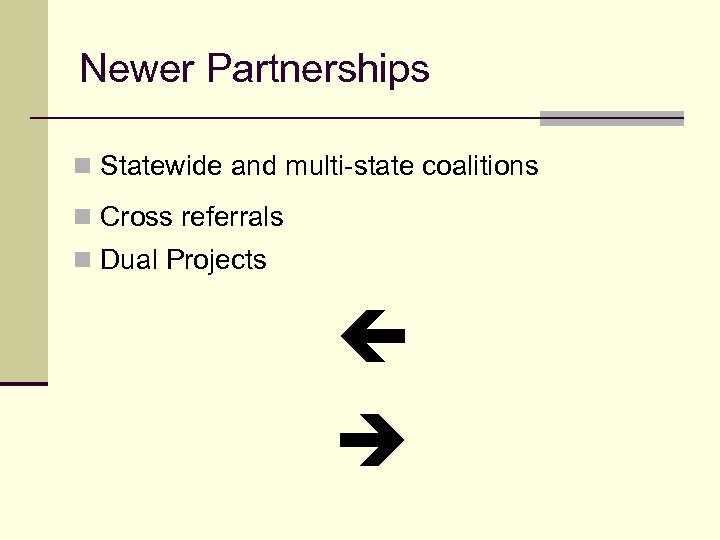 Newer Partnerships n Statewide and multi-state coalitions n Cross referrals n Dual Projects