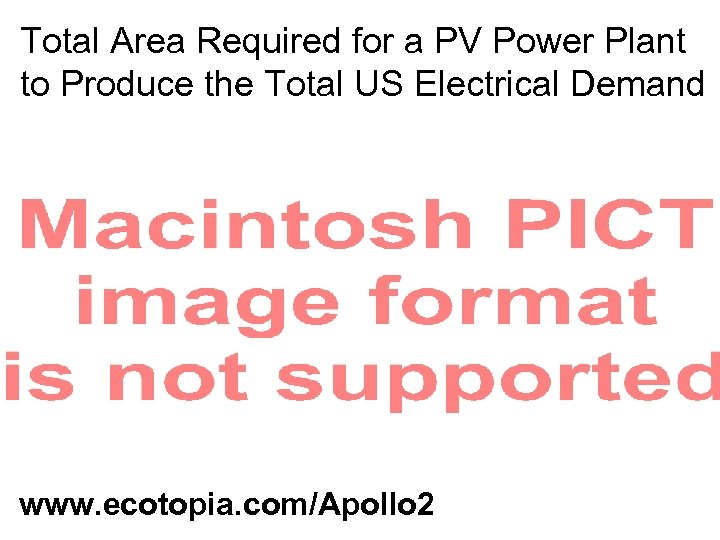 Total Area Required for a PV Power Plant to Produce the Total US Electrical