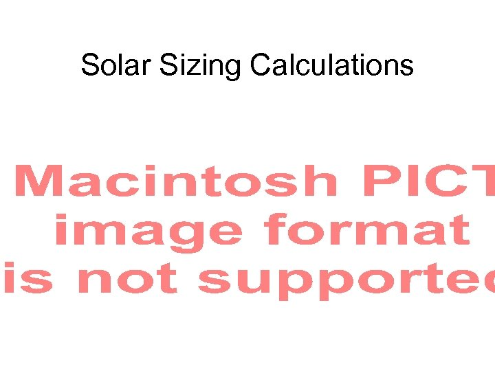 Solar Sizing Calculations