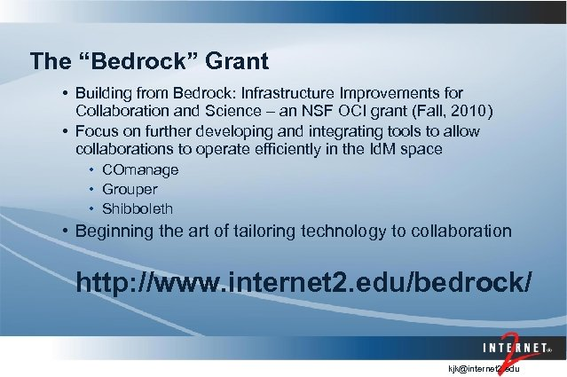 "The ""Bedrock"" Grant • Building from Bedrock: Infrastructure Improvements for Collaboration and Science –"