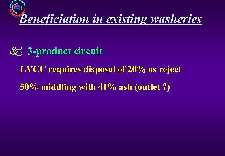 Beneficiation in existing washeries k 3 -product circuit LVCC requires disposal of 20% as