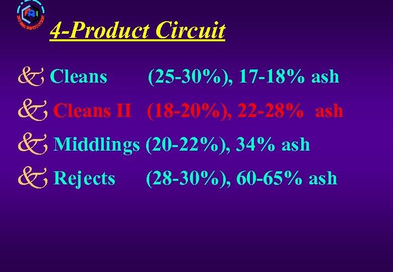 4 -Product Circuit k Cleans (25 -30%), 17 -18% ash k Cleans II (18