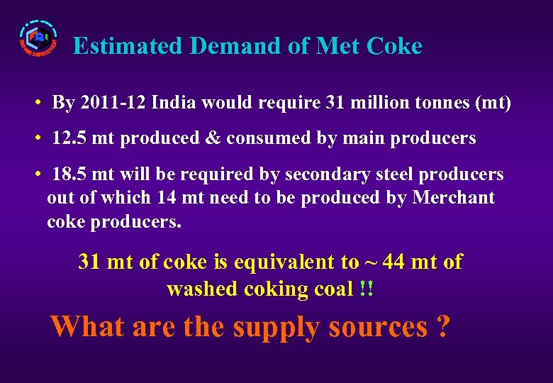 Estimated Demand of Met Coke • By 2011 -12 India would require 31 million