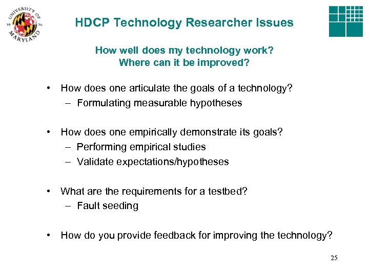 HDCP Technology Researcher Issues How well does my technology work? Where can it be