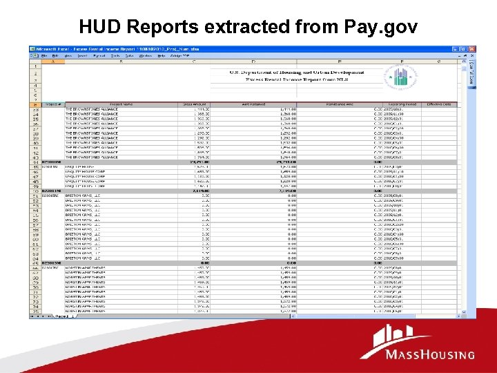 HUD Reports extracted from Pay. gov
