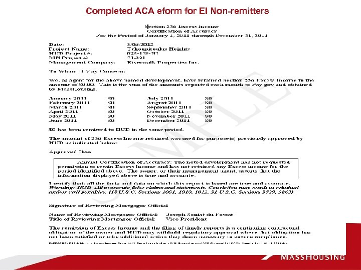 Completed ACA eform for EI Non-remitters