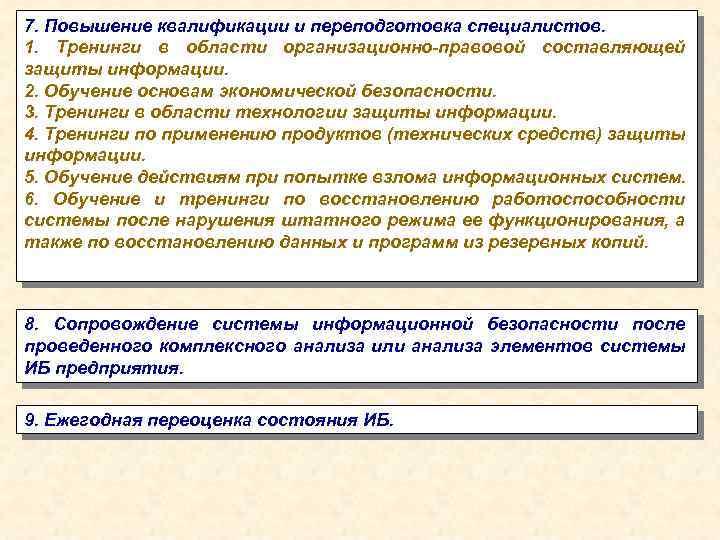 7. Повышение квалификации и переподготовка специалистов. 1. Тренинги в области организационно-правовой составляющей защиты информации.