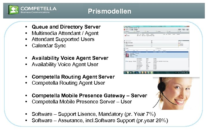 Prismodellen • • Queue and Directory Server Multimedia Attendant / Agent Attendant Supported Users