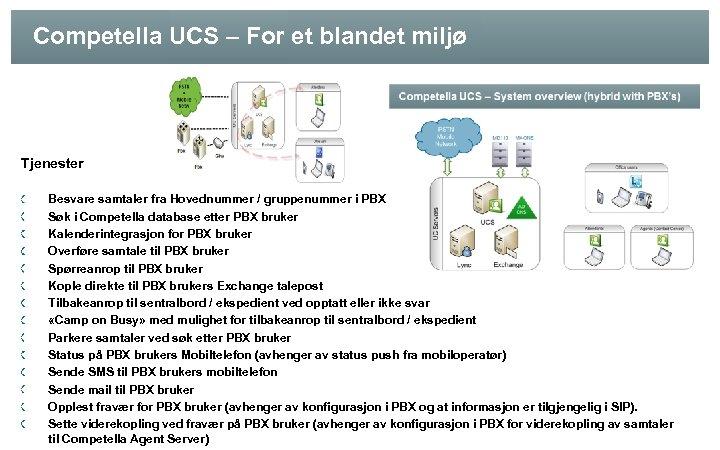 Competella UCS – For et blandet miljø Tjenester Besvare samtaler fra Hovednummer / gruppenummer
