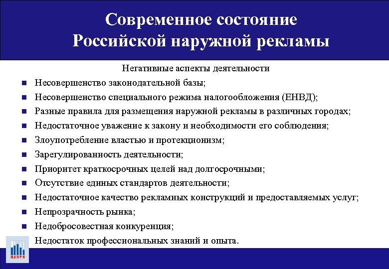 Современное состояние Российской наружной рекламы n n n Негативные аспекты деятельности Несовершенство законодательной базы;