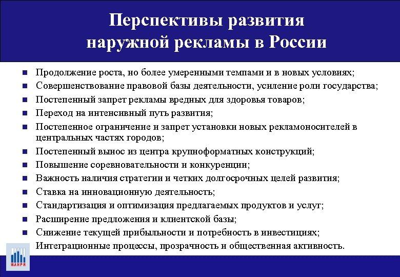 Перспективы развития наружной рекламы в России n n n n Продолжение роста, но более