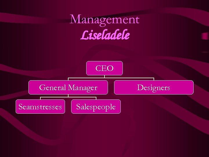 Management Liseladele CEO General Manager Seamstresses Salespeople Designers