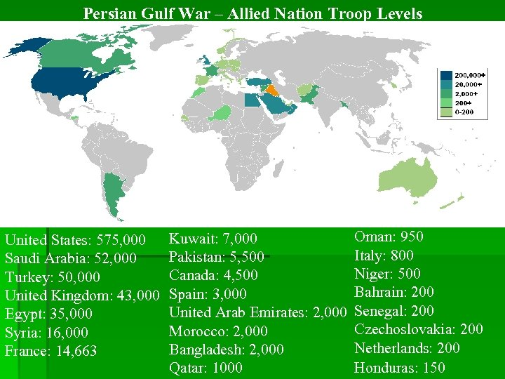 Persian Gulf War – Allied Nation Troop Levels United States: 575, 000 Saudi Arabia: