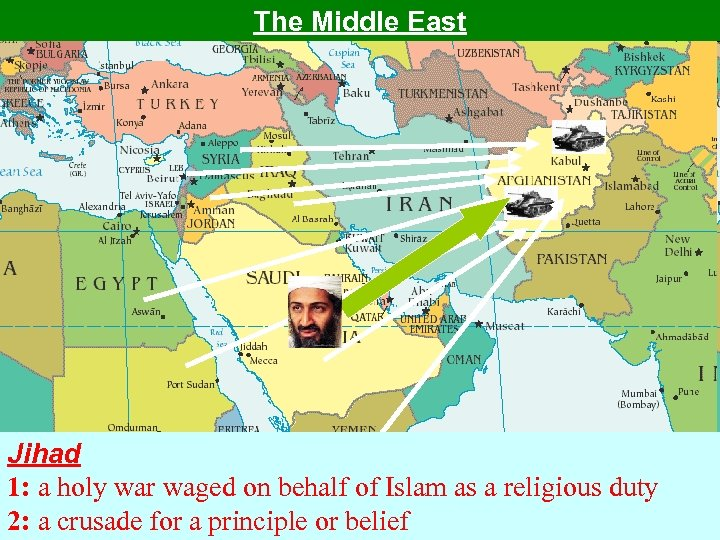 The Middle East Jihad 1: a holy war waged on behalf of Islam as